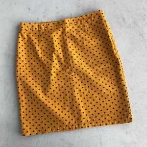 Gap Mustard Yellow & Black Polka Dot Pencil Skirt
